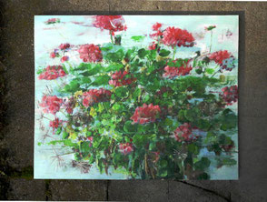 Geranienbild, Öl/MDF-Holztafel, 80 x 100 cm