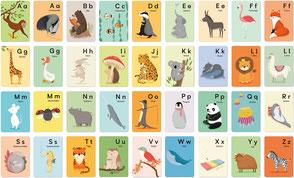 ABC Karten Einzeln von A bis Z