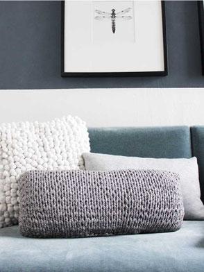 Kissen aus Textilgarn selber stricken