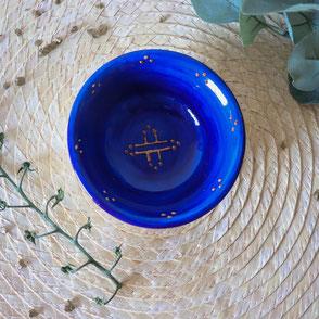 vaisselle-petit bol-bleu-porcelaine-motif berbère