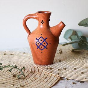 bouteille d'huile d'olive-terre cuite-traditionnelle-motif berbere bleu