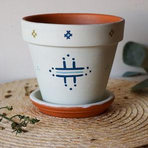 pot de fleur, terre cuite, vert, berbère, déco, extérieur, décoré, fleur, plantes