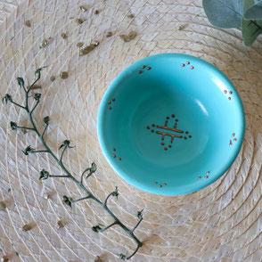 vaisselle-petit bol-vert-porcelaine-motif berbère