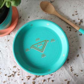 vide poche-terre cuite-artisanal-turquoise-motifs berberes-doré