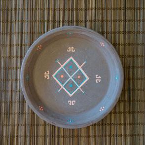 vide poche-terre cuite-artisanal-marron-motifs berberes