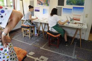 Das Atelier in zwei Räumen des Hauses