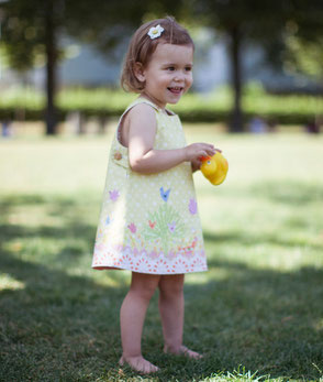 reversibles Kinderkleid - gelb mit Vögeln