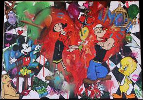 peinture tableau coloré pop art street art amour popeye olive titi mickey sur damier
