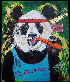 Peinture tableau colorée drôle acrylique panda qui mange une carotte avec marcel toutouyoutou et bandana