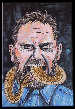 tableau peinture acrylique bizarre dérangeante visage homme avec serpent sortant de la bouche douleur peur