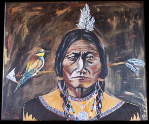 Peinture tableau acrylique indien viel amérindien sage portrait de face avec flèche et plume et oiseau coloré