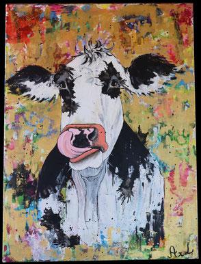 tableau peinture vache colorée dorée rigolote drôle qui tire la langue