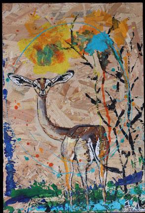 tableau peinture bois récup osb gazelle waller savanne coloré