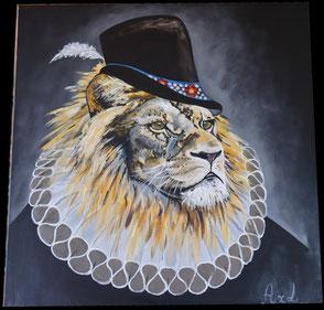Tableau peinture acrylique style ancien lion habillé costume avec fraise et chapeau
