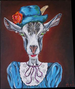 Tableau peinture acrylique style ancien chèvre habillée robe et chapeau