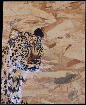 tableau peinture bois récup osb léopard guépard tacheté chasseur