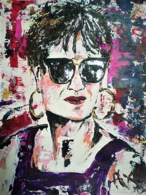 peinture tableau coloré pop art moderne portrait femme classe avec lunettes de soleil