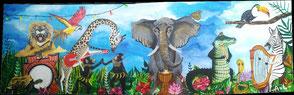 peinture tableau acrylique toile orchestre concert animaux jungle savanne coloré instrument de musique