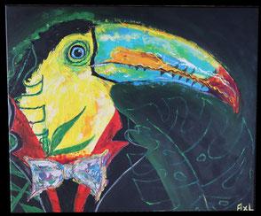 Peinture tableau acrylique toucan jungle tropicale en costume avec noeud papillon et veste