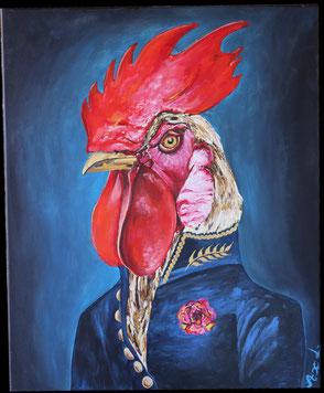 tableau peinture acrylique style ancien coq habillé costume veste