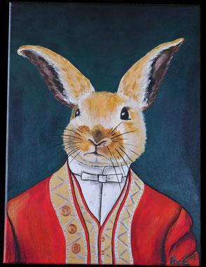 tableau peinture acrylique style ancien lapin habillé costume élégant