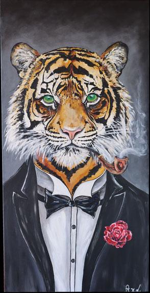 tableau peinture acrylique tigre élégant habillé costume noeud papillon james bond pipe