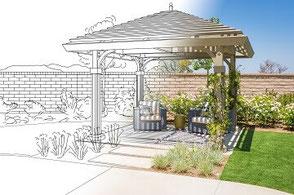 Gartenskizze wird von der einen Hälfte zur anderen Real
