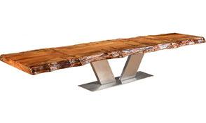 Konferenztisch exklusives Design, einzigartiger Holztisch aus Kauri Baumstamm Tischplatte, moderner Designer Konferenztisch