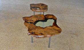 Einzigartige Kauri Wurzelholz Designer Couchtische aus faszinierendem tausendjährigem Holz, Designertische, besondere Holztische mit gefärbtem Epoxidharz Kunstharz
