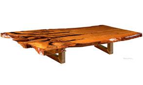 Besonderer Holztisch exklusiver Konferenztisch tausendjähriges Kauri Holz, einmaliges Tischunikat von Beaupoil, außergewöhnlicher Designertisch kunstvoller Natur
