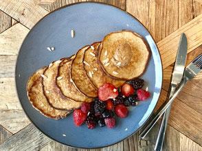 Banaan; ei; havermout; glutenvrij; zuivelvrij; rood fruit