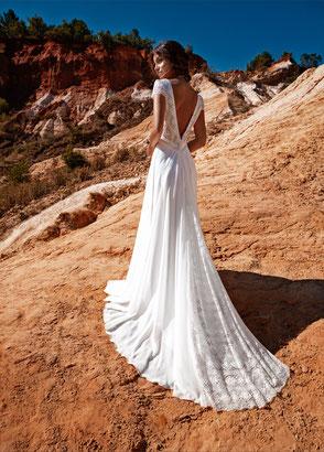 Robe de mariée bohème chic dentelle Fabienne Alagama Fabrication française Saint Germain en Laye Yvelines