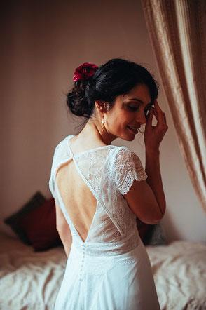 Décolleté dos robe de mariée Louise par Elsa Gary