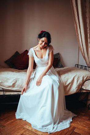 Robe de mariée Louise bohème chic dentelle Elsa Gary