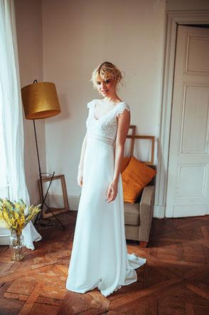 Robe de mariée bohème chic dentelle Elsa Gary Fabrication française Saint Germain en Laye Yvelines
