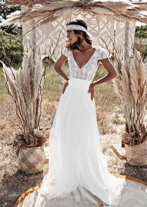 Robe de mariée bohème chic dentelle Fabienne Alagama ecoresponsable Fabrication française Saint Germain en Laye Yvelines