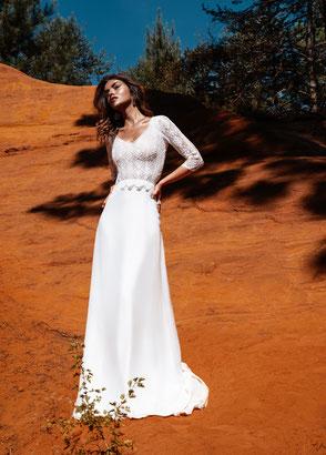 Robe de mariée bohème chic dentelle Collection Idylle Fabienne Alagama Fabrication française Saint Germain en Laye Yvelines