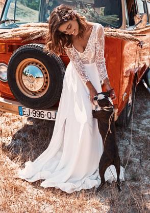 Robe de mariée fendue Fabienne Alagama Fabrication française Saint Germain en Laye Yvelines