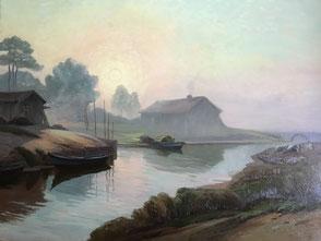 Philippe Long . Arcachon Peinture bordelaise. Bordeaux. Bassam