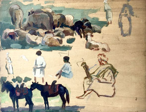 Jules Louis Moréteau. Peintre Orientaliste .Bordeaux. Bassam