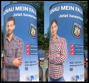 Genau mein Fall, Polizei NRW, Jetzt bewerben ; Aussenwerbung ; mobile  Werbesäule ; Reklame ; Werbung ; mobile Außenwerbung ; refix GmbH ; advertising ; pillar ; column ; günstig; inovation ; einzigartig ; unique