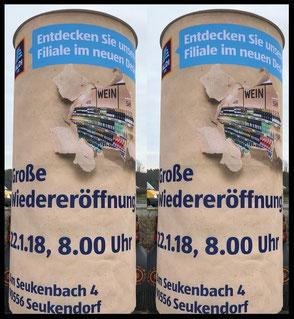 Wiedereröffnung 22.01.18, ALDI Süd Seukendorf, Seukenbach 4; Aussenwerbung ; mobile  Werbesäule ; Reklame ; Werbung ; mobile Außenwerbung ; refix GmbH ; advertising ; pillar ; column ; günstig; inovation ; einzigartig ; unique