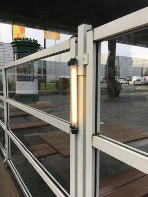 Beleuchtung für Windschutzwände