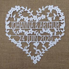 Faire-part mariage découpe laser coeur en papier dentelle style romantique rustique champêtre fabriqué en France