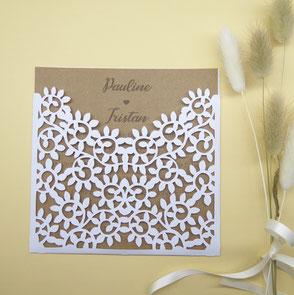 Faire-part  mariage en découpe effet broderie motif feuillage nature champêtre fabriqué en France