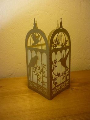 Photophore cage à oiseaux champagne