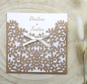 Faire-part Mariage feuillage naturel en papier découpé champêtre