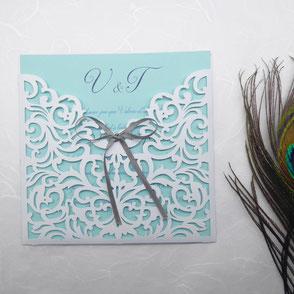 Faire-part Mariage effet dentelle en papier découpé romantique