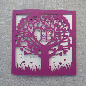 Faire-part Mariage paper cut effet broderie arbre de coeurs personnalisé