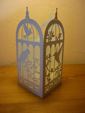 Photophore cage à oiseaux blanc